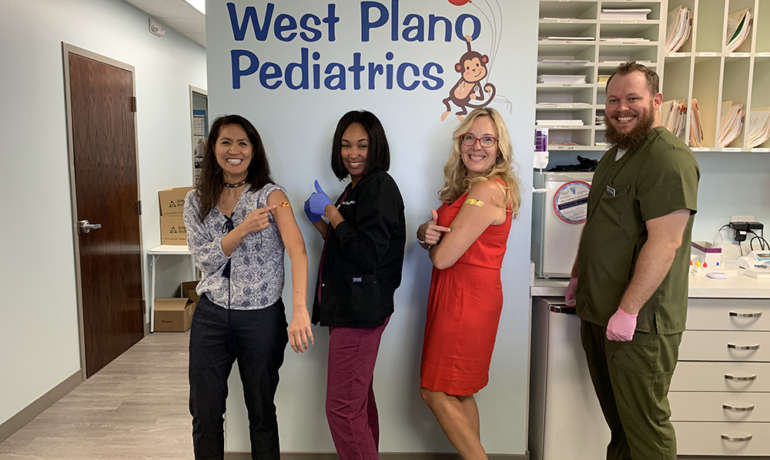 The entire staff of West Plano Pediatrics has been vaccinated against the Influenza virus for the 2019-2020 season.